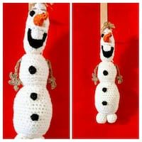 """OLAF"" Amigurumi Toy. Soft and cuddly. 100% Acrylic. 7"" x 3"". Handcrafted with Love. Wash: delicate or by hand. Dry: lay flat or very low heat."