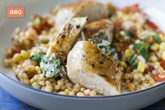 Chicken Breasts with Multi-colour Jerusalem Couscous made easy. Discover Goodfood's Chicken Breasts with Multi-colour Jerusalem Couscous meal kit delivery featuring farm-fresh ingredients. Corn Succotash, Chicken Breasts, Jerusalem, Risotto, Colour, Ethnic Recipes, Food, Poultry, Tomatoes