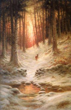 "Joseph Farquharson (1846 - 1935) - ""In Deep Mid Winter"""