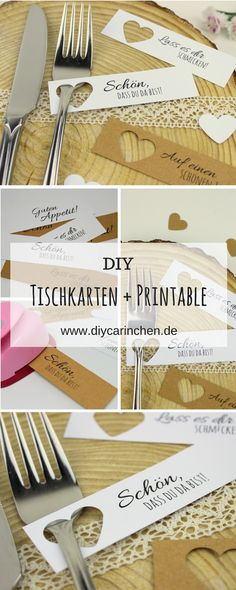 DIY Tischkarten einfach selber machen + kostenlose Vorlagen - Hochzeit DIY table cards very easy to make + 5 free templates - ideal for the perfect wedding: DIY, handicrafts, DIY, wedding, wedding dec Diy Table Cards, Diy Place Cards, Cards Diy, Diy Centerpieces, Diy Wedding Decorations, Table Decorations, Wedding Templates, Diy Home Decor Projects, Perfect Wedding