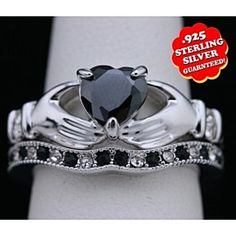 14K White Gold Over D/VVS1 Heart Shape Black Single Band With Claddagh Rings by JewelryHub on Opensky