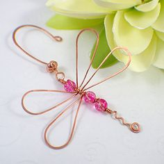 Dragonfly ornament copper pink glass wire by SueRunyonDesigns on etsy.