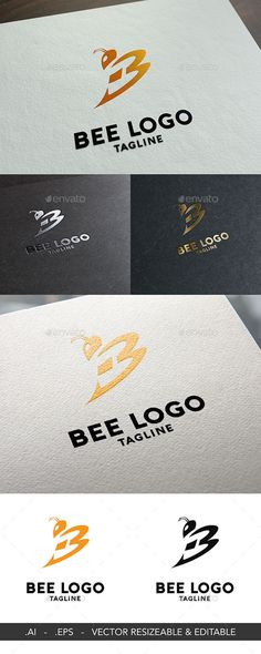 Bee Logo Template by superkij Logo Template   100 Vector 100 Customizable  High Quality Editable Text 5630b92d7