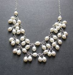 Pearl Statement Necklace. Wire Wrapped Pearl Necklace. Bridal Jewelry. June Birthstone - Blossom Necklace