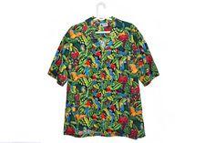 Vintage Hawaiian Shirt for Men Bird Parrot Print Aloha