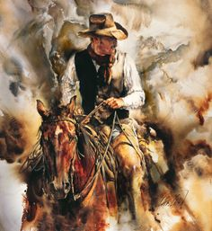 Taking Stock by Chris Owen is a limited edition signed numbered reproduction of a Chris Owen original painting. Texas Art Depot is the Chris Owen Gallery in East Texas for giclee on canvas, prints and canvas prints from Montana artist Chris Owen Art Aquarelle, Watercolor Paintings, Original Paintings, Watercolors, Arte Equina, West Art, Cowboy Art, Cowboy Western, Equine Art
