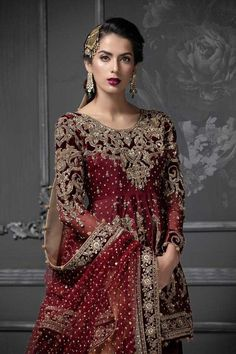 Maria B Bridal Collection 2020 Pakistani Wedding Dresses, Pakistani Dress Design, Pakistani Outfits, Indian Dresses, Shadi Dresses, Maria B Bridal, Anarkali, Lehenga, Sharara