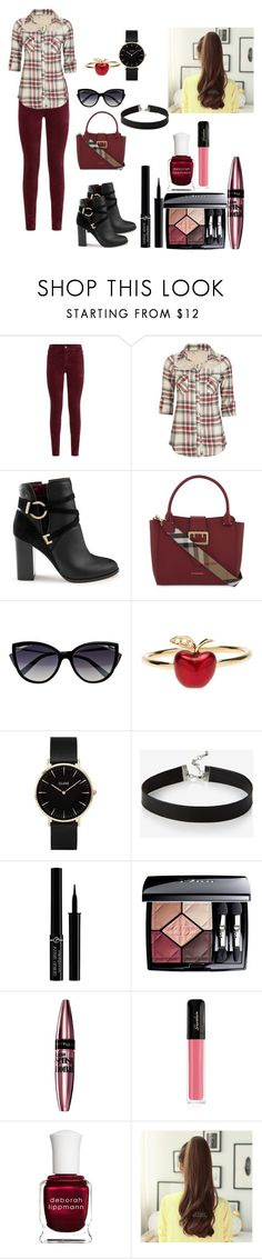 """Burberry look"" by kellykalymnoskd ❤ liked on Polyvore featuring AG Adriano Goldschmied, Full Tilt, Miss Selfridge, Burberry, La Perla, Alison Lou, CLUSE, Express, Giorgio Armani and Christian Dior"