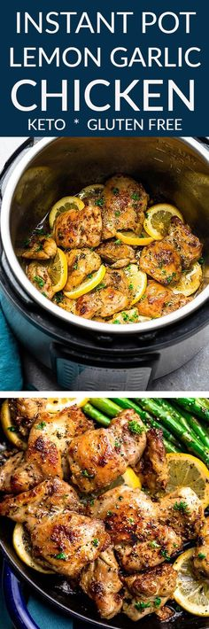 Instant Pot Lemon Garlic Chicken - the perfect low carb & keto friendly meal for spring. Best of all, this recipe is super simple and the chicken cooks up tender, juicy and full of flavor with instructions for the pressure cooker and stovetop. Serve with roasted asparagus, broccoli, zucchini, green beans, cauliflower or your favorite vegetable. Great for meal prep Sunday to make ahead for work or school lunchboxes & lunchbowls. #keto #lowcarb #chicken #instantpot #lemon #garlic #chickendinner