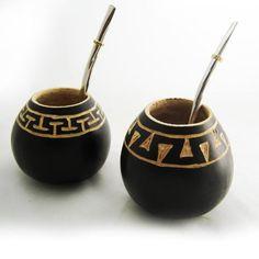 ARGENTINA MATE GOURD YERBA TEA WITH STRAW BOMBILLA KIT ARTISAN HANDMADE 6693 NEW…