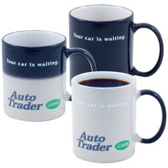 Have some fun with your next giveaway. This 11 oz. Mystique (R) Direct Screen Stoneware Mug makes a phenomenal giveaway! There are black and blue mystique colors available and an optional clue hints to your hidden advertising message. What an incredible way to promote your brand. US PAT# 6281165 US PAT# 6759099. US PAT# 6902775 US PAT# 7166333. Note: Full color images are slighty visible even when Mystique (R) mugs are cool.