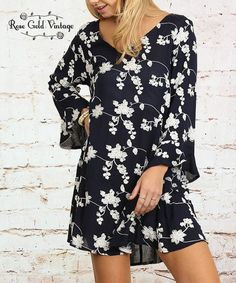32558703c621 Trapeze Floral Dress - Navy. Bell SleevesNavyBoutiqueSpring ...