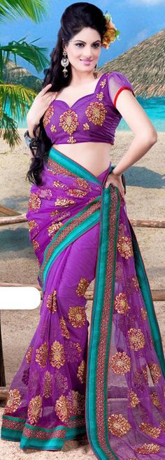 $73.98 Purple Net Saree 21477 With Unstitched Blouse