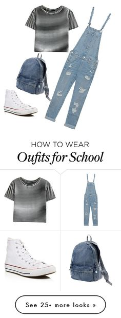 """School outfit ((:"" by emxlyyang on Polyvore featuring WithChic, True Religion, Converse and Issey Miyake"