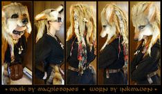 Did I mention I LOVE it when folks send me photos of my stuff being worn with complete outfits and makeup? This was sent to me by the happy new owner wh. Coyote W/Dreads being worn Fake Fire, Fire Basket, Modern Halloween, Complete Outfits, Samhain, Online Gallery, Larp, Werewolf, Dreads