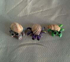 Hermit Crab Trio Custom Hand Made In Colorful Polymer Clay Miniature Figurines For Fairy Garden Terrarium Beach Decoration Accessories