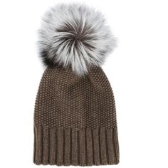 c77c634d6a409b Inverni fox fur pom pom beanie (5.470 CZK) ❤ liked on Polyvore featuring  accessories, hats, brown, fox fur hat, pompom hat, pom pom beanie hat, ...