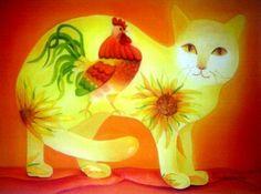 tomcat - Schilderij,  40x30 cm ©2010 door Tetiana Gorbachenko -                            Hedendaagse schilderkunst, paintings