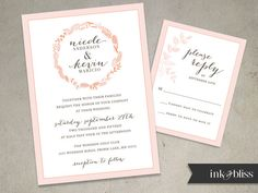 Floral Wreath Wedding Invitation and Reply Card | modern with a touch of rustic flair, delicate leaves | DIY Printable File