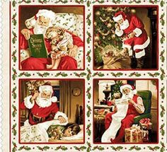 Santa Claus Traditional Christmas Panel Quilt Sew Fabric MAYWOOD #MaywoodStudios