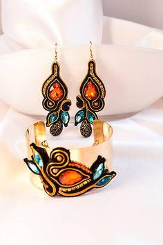 Tree of light - náušnice / nikuske - SAShE. Soutache Bracelet, Soutache Pendant, Soutache Jewelry, Bracelet Set, Boho Jewelry, Handmade Jewelry, Jewellery, Embroidery Jewelry, Beaded Embroidery