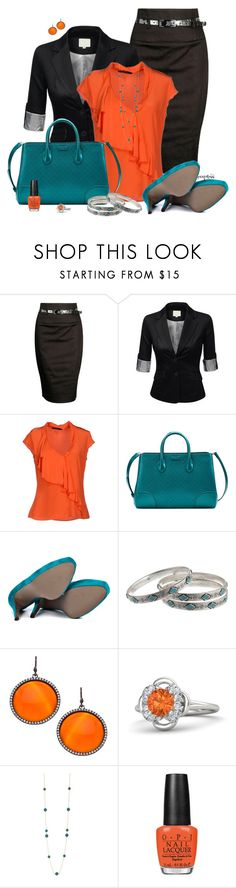 """Teal and orange"" by exxpress ❤ liked on Polyvore featuring Forever 21, J.TOMSON, GUESS by Marciano, Gucci, Blink, Lauren Ralph Lauren, Madison Precious Jewels, Gemvara, Dorus Mhor and OPI"