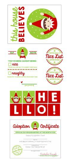 Free Elf on the Shelf Printable Kit including banner, adoption certificate, banner, and more! Pizzazzerie.com