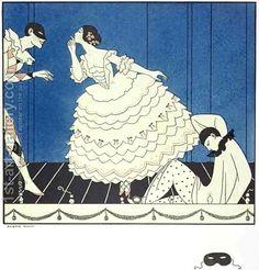 Georges Barbier:Tamara Karsavina (1885-1978) as Columbine, Vaslav Nijinsky (1890-1950) as Harlequin and Adolph Bolm (1884-1951) as Pierrot in Fokine's 'Carnaval' in 1910