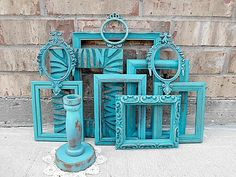 Upcycled - Vintage - Tantalizing Turquoise - Picture Frame Collection - Home Decor - BOHO CHIC. $84.95, via Etsy.