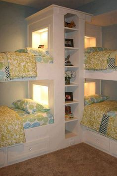 Kids room design for children in a big family can be challenging. Kids have to share a room. Space saving bunk beds help kids avoid the frustrations that come with small spaces, and create comfortable kids room design. Lushome collection of kids room desi Bunk Beds Built In, Kids Bunk Beds, Loft Beds, L Shaped Bunk Beds, Bunk Bed Ideas For Small Rooms, Bunk Beds For Girls Room, Wooden Bunk Beds, Twin Bunk Beds, Small Space Bedroom