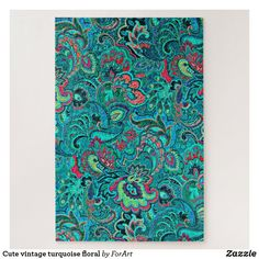 Shop Cute vintage turquoise floral jigsaw puzzle created by ForArt. Paisley Coloring Pages, Paisley Art, Make Your Own Puzzle, Custom Gift Boxes, Animal Skulls, Vintage Turquoise, High Quality Images, Pink And Green, Jigsaw Puzzles