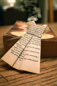 Paper dress tutorial | this is cute | do it with a page that has your favorite line in a book