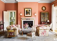 Find home décor inspiration at Architectural Digest. Everything you'll need to design each and every room in your house, from the kitchen to the master suite. Architectural Digest, Traditional Office, Traditional Decor, Living Room Designs, Living Room Decor, Living Spaces, Coral Living Rooms, Dining Room, Rooms Ideas