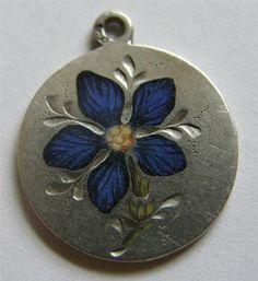RARE Antique Austro Hungarian Silver Enamel Violet Flower Charm Superb   eBay