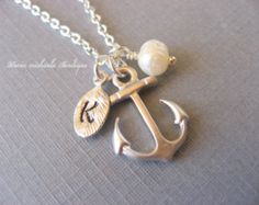 Personalized Hand Stamped Initial Anchor Necklace, Nautical Necklace, Pearl Necklace, Anchor Pendant