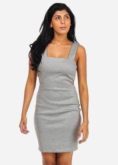 Metallic Cut Out Bodycon Dress (Light Grey)