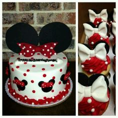 minnie mouse cake and cupcake Minni Mouse Cake, Bolo Do Mickey Mouse, Mickey And Minnie Cake, Bolo Minnie, Minnie Mouse Birthday Cakes, Minnie Mouse Theme, Mickey Cakes, Mickey Mouse Birthday, Birthday Cake Girls