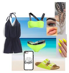 """""""Neon Beach Day"""" by safia4life ❤ liked on Polyvore featuring Birkenstock, J.Crew and Casetify"""