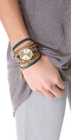 Sara Designs Leather & Chain Wrap Watch | SHOPBOP