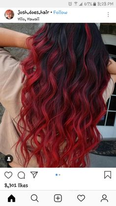 Hair natural Crimson Spell 🧙🏻♂️ My client came in with virgin natural level 1 (b. Crimson Spell 🧙🏻♂️ My client came in with virgin natural level 1 (black) hair wanting to go red. I started by balayaging her hair using… Half Dyed Hair, Dyed Hair Men, Dyed Red Hair, Dye Hair, Curly Hair Dye, Blond Hairstyles, Pretty Hairstyles, Hairstyle Ideas, Greaser Hairstyles