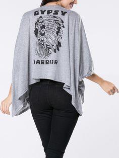 Collarless Printed Kimono Sleeve Cardigan Only $10.95 USD More info...