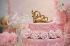 Pretty cake at a pink and gold princess birthday party! See more party ideas at CatchMyParty.com!