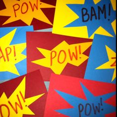Homemade Superhero invitations