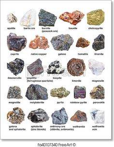 Various raw minerals and ores with names isolated on white background. Free art print of Various raw minerals and ores with names isolated. Minerals And Gemstones, Crystals Minerals, Rocks And Minerals, Crystals And Gemstones, Stones And Crystals, Chalk Rock, Crystal Identification, Free Art Prints, Rock Collection