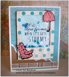 CTMH shaker card using 'Rainy Day' stamp set and Seaside paper pack *featured in my February Virtual card kit* www.facebook.com/dawn.montagano