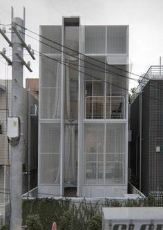 Ataya house in osaka, japan by alexander yukhimets Narrow House Plans, Balcony Railing Design, Mews House, Japan Architecture, Townhouse Designs, Facade House, House Facades, Bungalow House Design, Street House