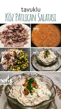 Tavuklu Köz Patlıcan Salatası (Meze) Tarifi nasıl yapılır? 4.183 kişinin defterindeki bu tarifin resimli anlatımı ve deneyenlerin fotoğrafları burada. Yazar: Tuğba Gamzeli Melek Turkish Recipes, Salads, Eat, Food, Needlepoint, Essen, Meals, Yemek, Salad