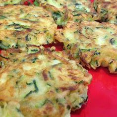 Zucchini Fritters Recipe on Yummly Fried Zuchinni, Baked Zucchini Fritters, Bake Zucchini, Zucchini Fries, Vegetarian Cheese, Meal Planner, Calorie Diet, Meals For The Week, Stuffed Peppers