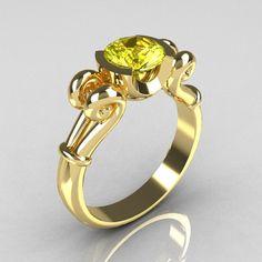 Modern Antique 10K Yellow Gold 1.0 Carat Round Yellow Topaz Designer Solitaire Ring R122-10YGYT-2