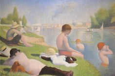 """Bathers at Asnières"" by Georges Seurat. oil on canvas. In the collection of The National Gallery, London. The finished painting for which Seurat made many studies, including one at The Cleveland (OH) Museum of Art."
